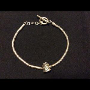 Sterling Silver Snake Chain Charm Bracelet.